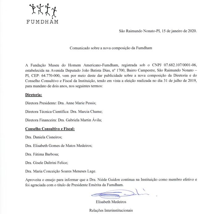 Comunicado da Nova Diretoria e Conselho Consultivo e Fiscal